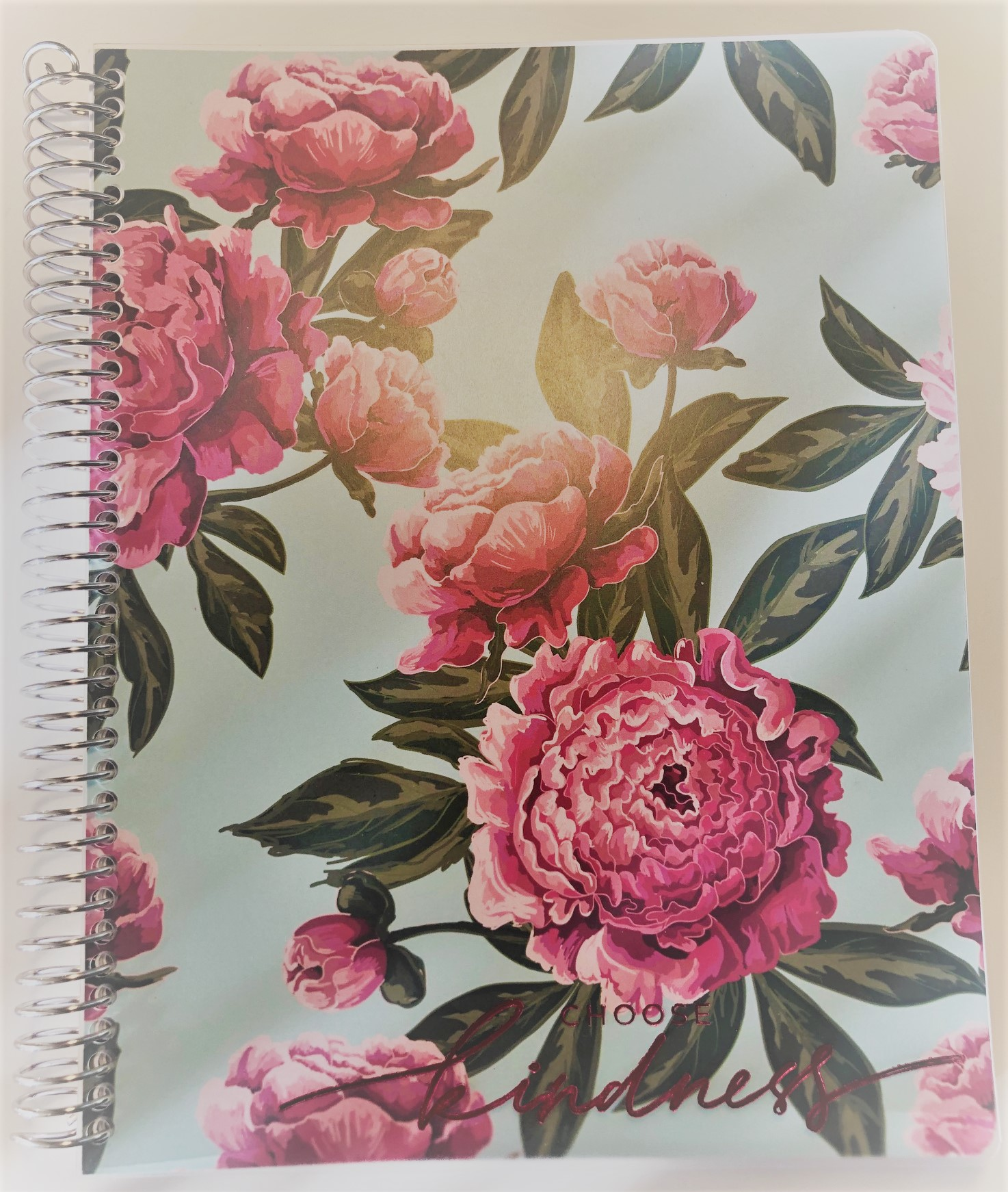 Choose Kindness Pink Peonies Journal (Silver Metal Spiral)